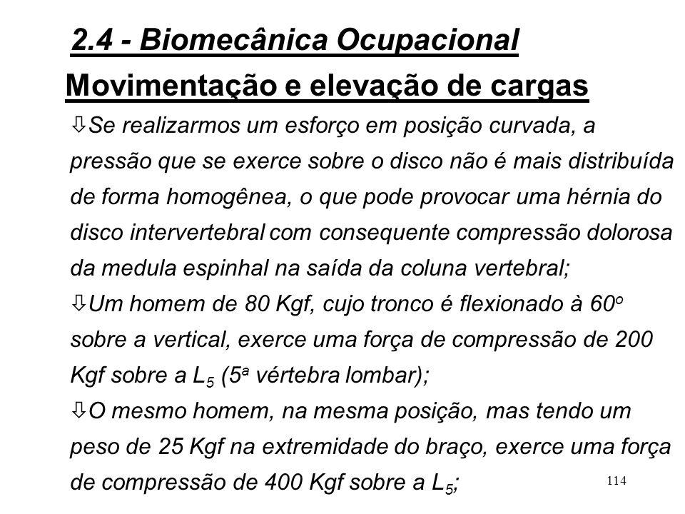 113 Movimentação e elevação de cargas 3Biomecânica da elevação de cargas: ò ò Na elevação de cargas pesadas, é necessário que o esforço se produza quando a coluna vertebral estiver reta, isto é, quando as vértebras exercerem uma pressão uniforme sobre os discos intervertebrais; ò Com a idade e segundo o peso das cargas, assim como do seu modo de movimentação e elevação, o disco intervertebral se deforma e sua estrutura se altera; 2.4 - Biomecânica Ocupacional