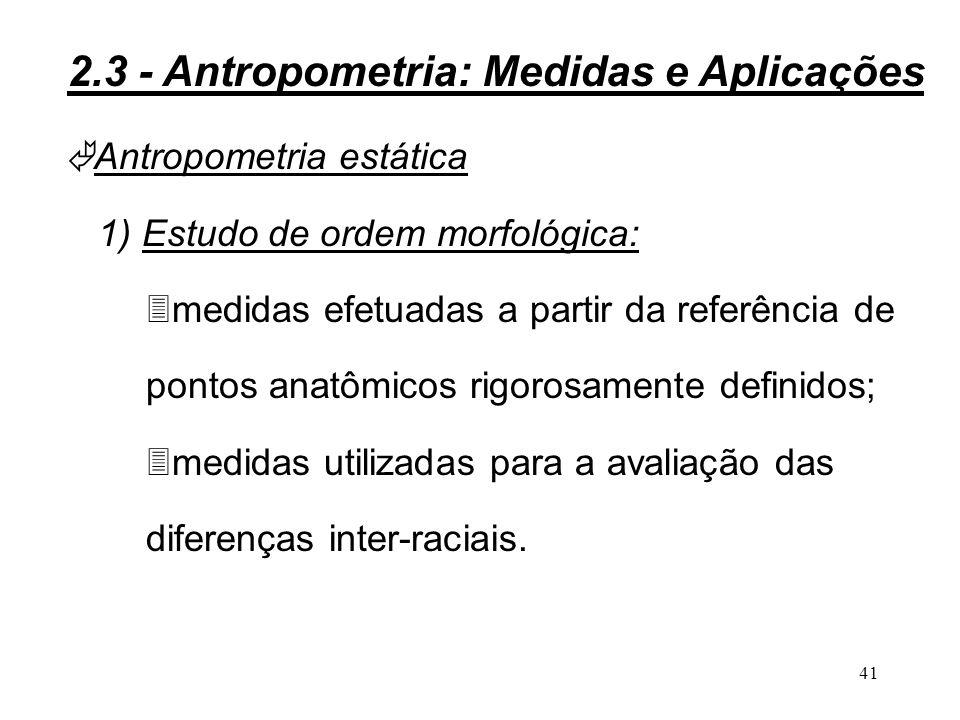 40 Levantamento de medidas antropométricas: 1) Definição dos objetivos do levantamento antropométrico; 2) Definição das medidas a serem coletadas; 3) Escolha do método de medida; 4) Seleção da amostra; 5) Realização das medidas; 6) Análise estatística.