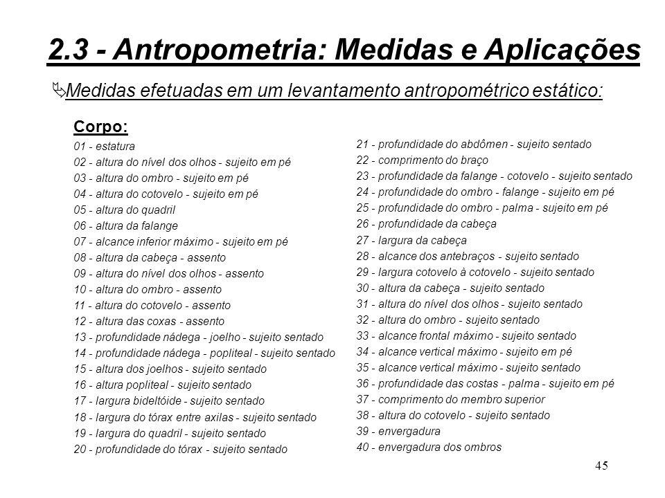 44 Figura 2.10b: 2.3 - Antropometria: Medidas e Aplicações