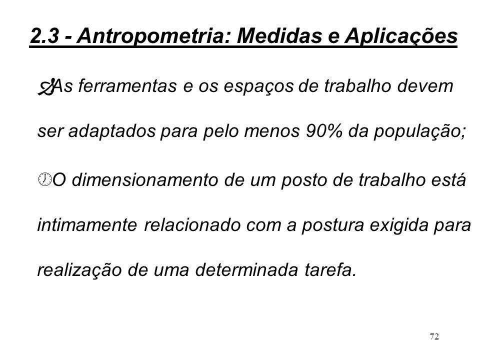71 Î No uso de dados antropométricos, o engenheiro de produção deve verificar qual é a tolerância aceitável para acomodar as diferentes dimensões encontradas na população de usuários; » As ferramentas e espaços de trabalho podem ser dimensionados para a média da população (50%) ou um de seus extremos (5% ou 95%); 2.3 - Antropometria: Medidas e Aplicações