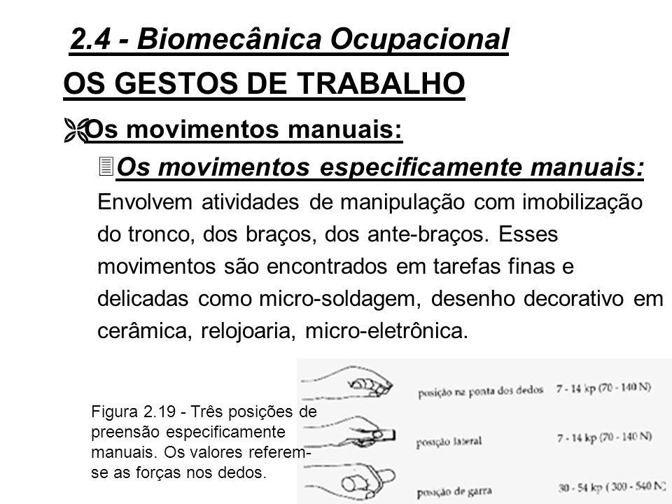 74 OS GESTOS DE TRABALHO Figura 2.18 - Atividade da mão e tarefa manual: adaptações de empunhadura em função da anatomia da mão.