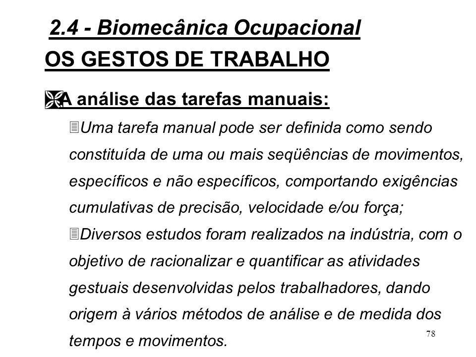 77 OS GESTOS DE TRABALHO Figura 2.20 - Movimentos não especificamente manuais.