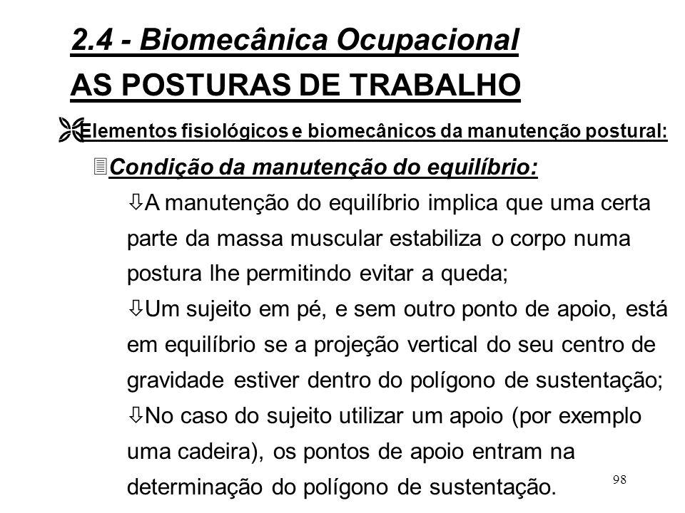 97 AS POSTURAS DE TRABALHO Ê Considerações gerais: 3A postura é a organização no espaço dos diferentes segmentos corporais.