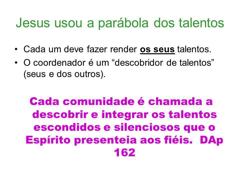 Jesus usou a parábola dos talentos Cada um deve fazer render os seus talentos. O coordenador é um descobridor de talentos (seus e dos outros). Cada co