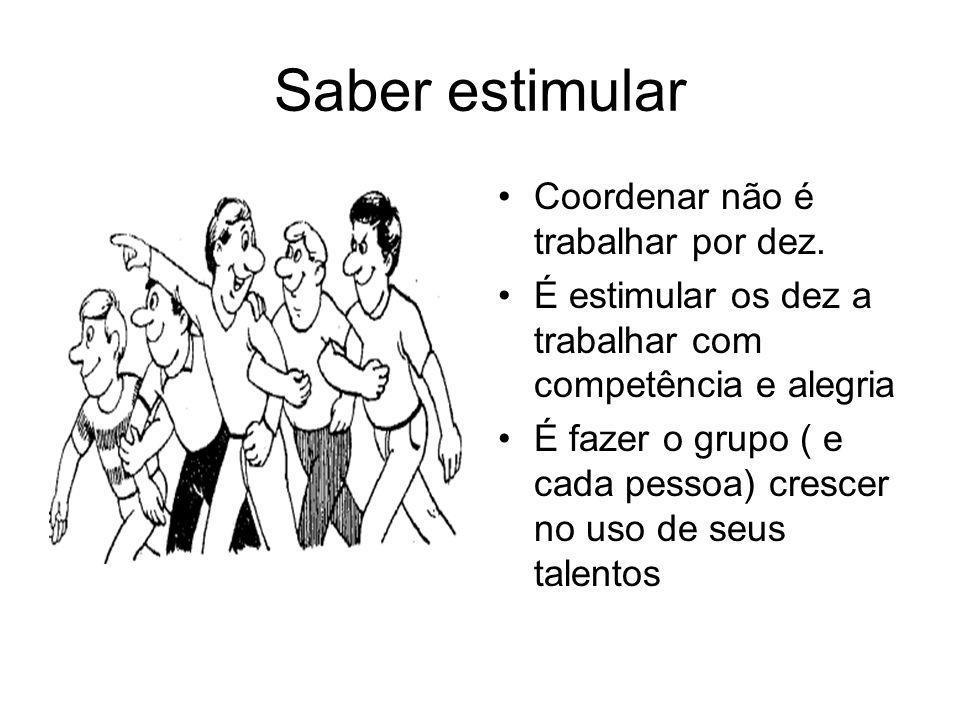 Saber estimular Coordenar não é trabalhar por dez. É estimular os dez a trabalhar com competência e alegria É fazer o grupo ( e cada pessoa) crescer n