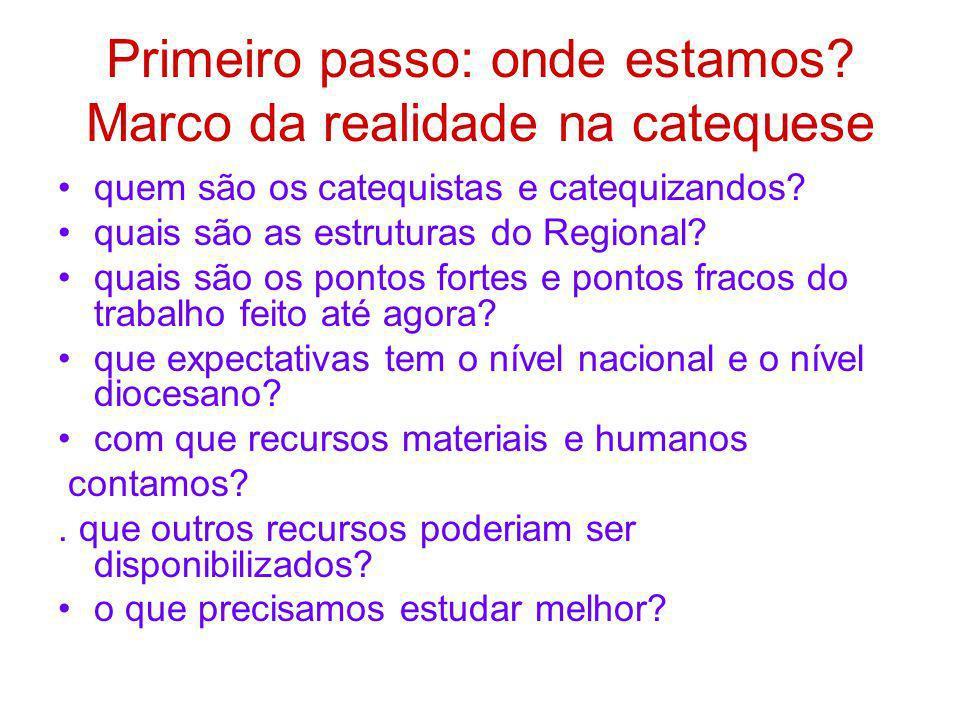 Primeiro passo: onde estamos? Marco da realidade na catequese quem são os catequistas e catequizandos? quais são as estruturas do Regional? quais são