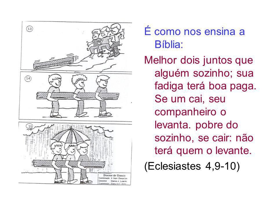 É como nos ensina a Bíblia: Melhor dois juntos que alguém sozinho; sua fadiga terá boa paga. Se um cai, seu companheiro o levanta. pobre do sozinho, s