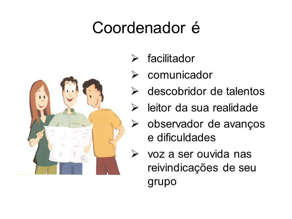 Coordenador é facilitador comunicador descobridor de talentos leitor da sua realidade observador de avanços e dificuldades voz a ser ouvida nas reivin