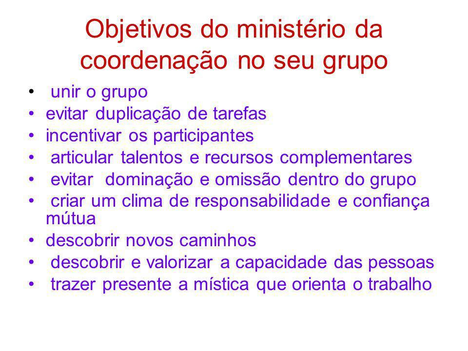 Objetivos do ministério da coordenação no seu grupo unir o grupo evitar duplicação de tarefas incentivar os participantes articular talentos e recurso