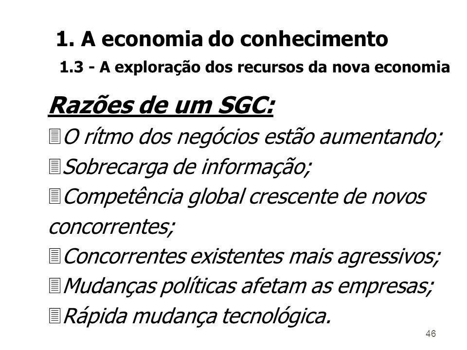 45 Um SGC: 3Gerencia situações conhecidas; 3Busca sinais de mudança; 3Gerencia a informação; 3Facilita a geração de conhecimentos na organização.