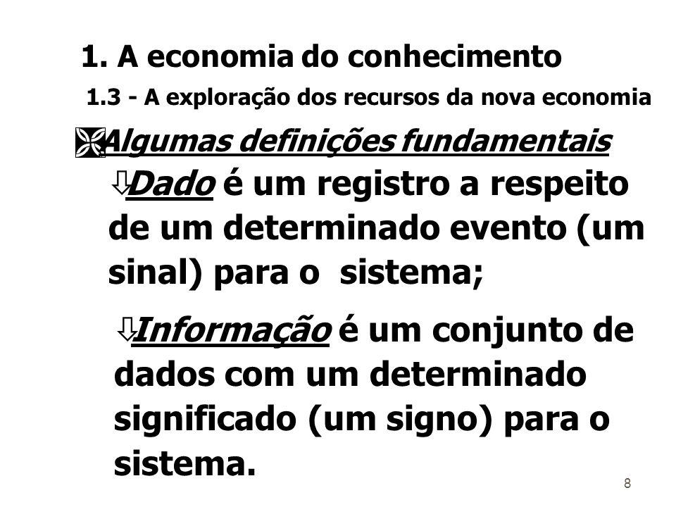 8 Ì AÌ Algumas definições fundamentais òDado é um registro a respeito de um determinado evento (um sinal) para o sistema; òInformação é um conjunto de dados com um determinado significado (um signo) para o sistema.