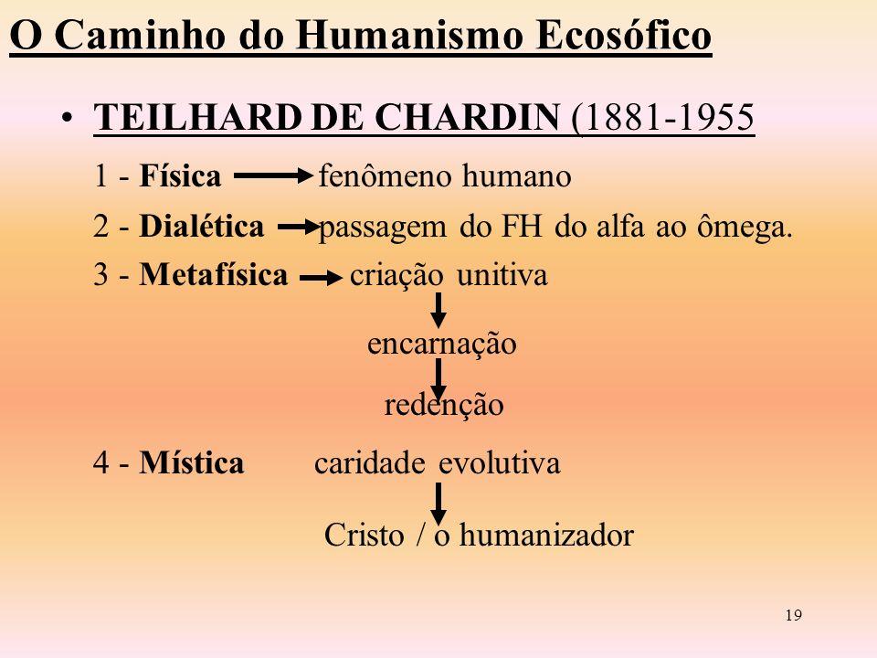 18 O Caminho do Humanismo Ecosófico TEILHARD DE CHARDIN (1881-1955) Visão Dinâmica e Evolucionista Lei da Complexidade e Consciência O homem participa da evolução a caminho da plena Hominização em direção ao ÔMEGA.