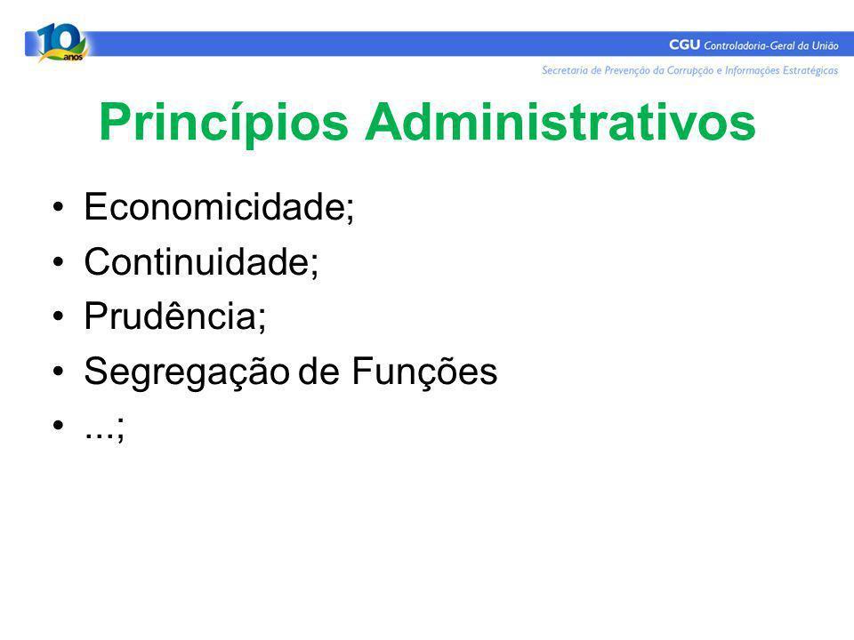 Princípios Administrativos Economicidade; Continuidade; Prudência; Segregação de Funções...;