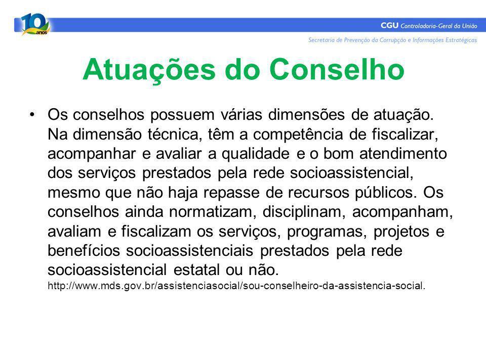 Atuações do Conselho Os conselhos possuem várias dimensões de atuação.