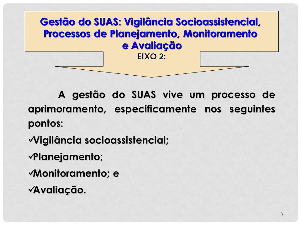A gestão do SUAS vive um processo de aprimoramento, especificamente nos seguintes pontos: Vigilância socioassistencial; Vigilância socioassistencial;