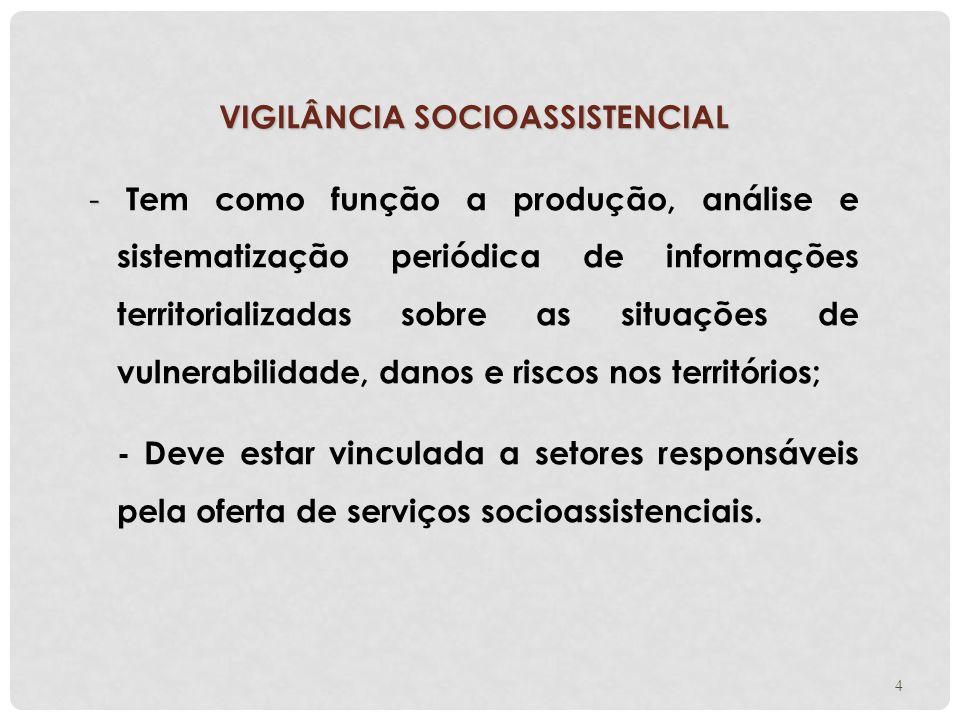4 VIGILÂNCIA SOCIOASSISTENCIAL - - Tem como função a produção, análise e sistematização periódica de informações territorializadas sobre as situações