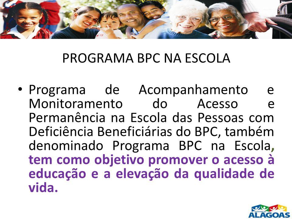 PROGRAMA BPC NA ESCOLA Programa de Acompanhamento e Monitoramento do Acesso e Permanência na Escola das Pessoas com Deficiência Beneficiárias do BPC,