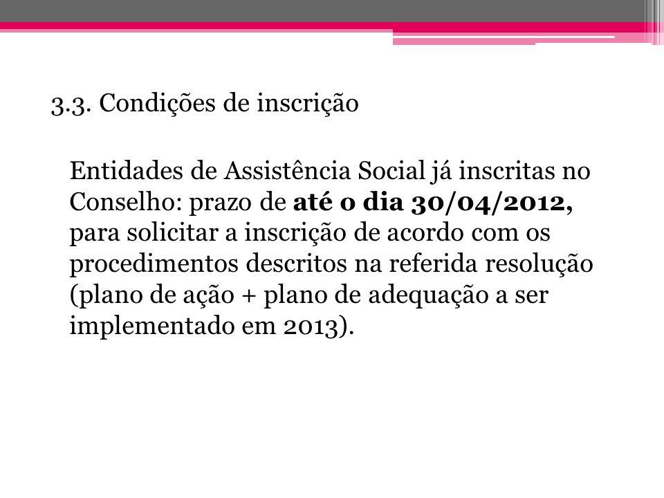 3.3. Condições de inscrição Entidades de Assistência Social já inscritas no Conselho: prazo de até o dia 30/04/2012, para solicitar a inscrição de aco
