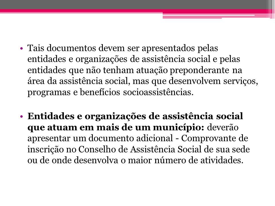 Tais documentos devem ser apresentados pelas entidades e organizações de assistência social e pelas entidades que não tenham atuação preponderante na