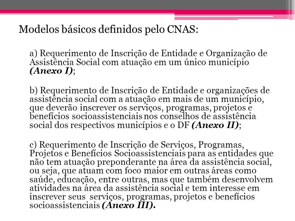 Modelos básicos definidos pelo CNAS: a) Requerimento de Inscrição de Entidade e Organização de Assistência Social com atuação em um único município (A