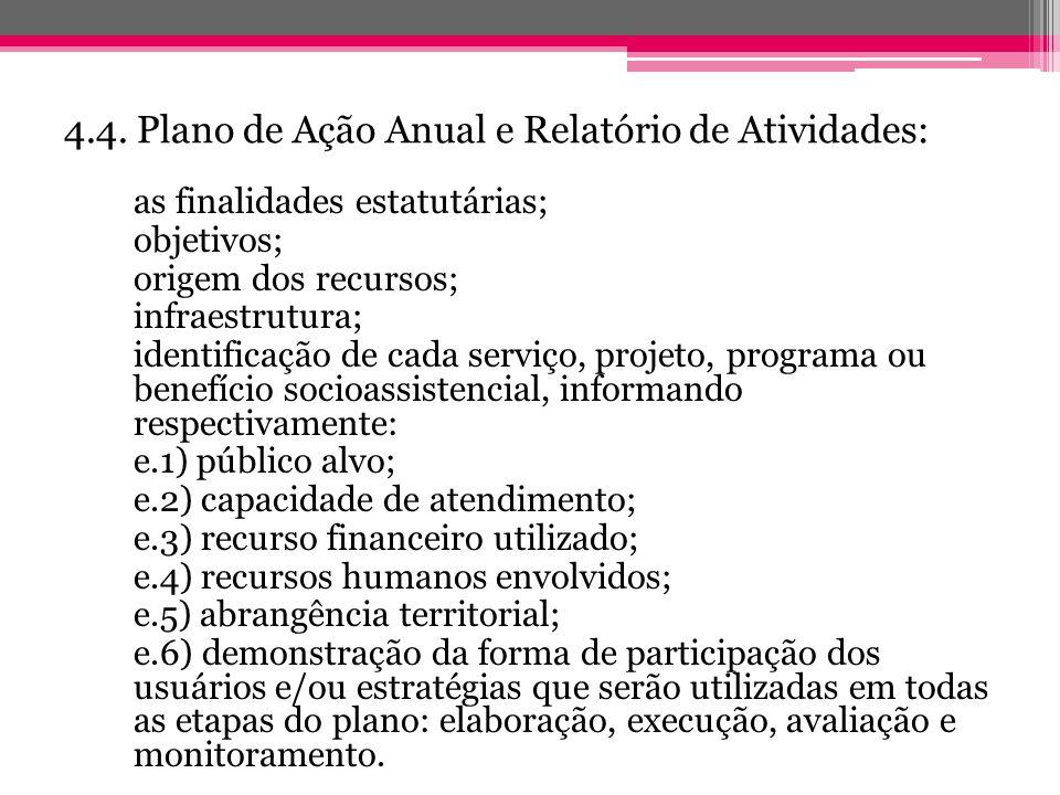 4.4. Plano de Ação Anual e Relatório de Atividades: as finalidades estatutárias; objetivos; origem dos recursos; infraestrutura; identificação de cada
