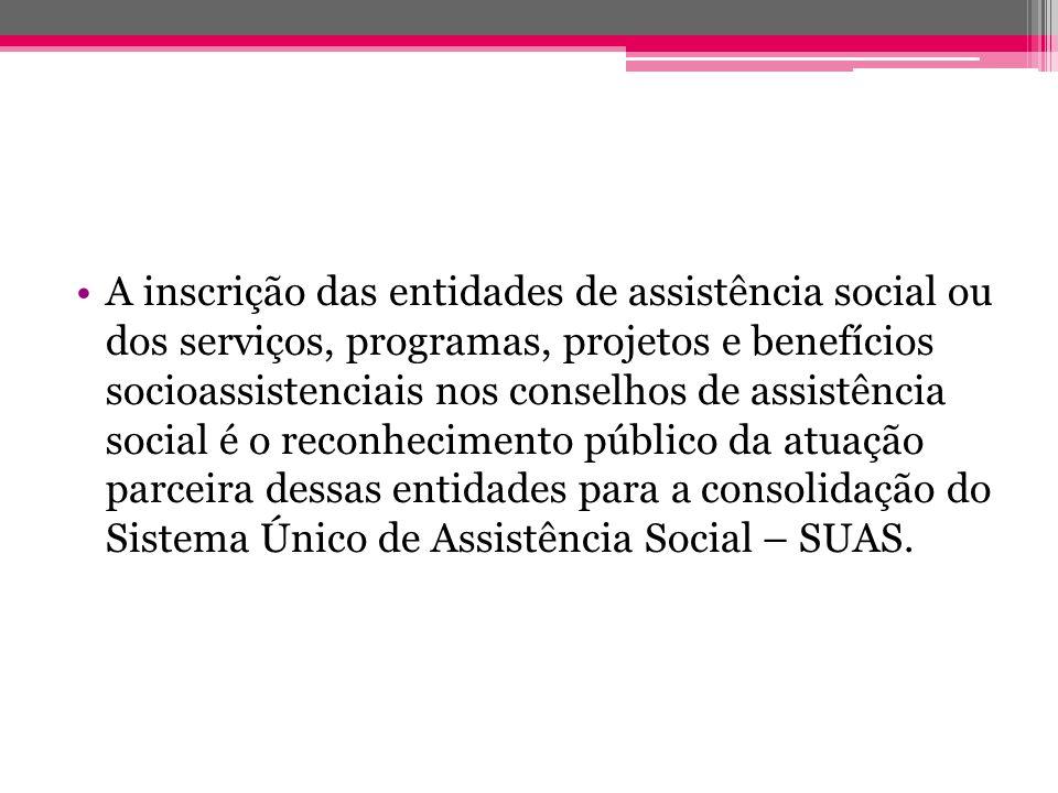 A inscrição das entidades de assistência social ou dos serviços, programas, projetos e benefícios socioassistenciais nos conselhos de assistência soci