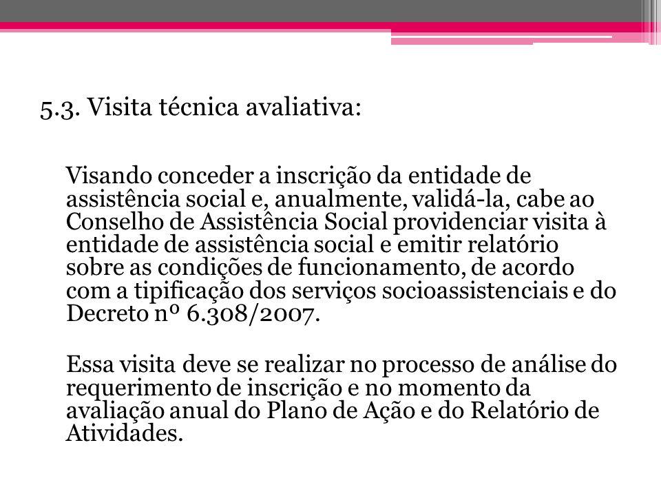 5.3. Visita técnica avaliativa: Visando conceder a inscrição da entidade de assistência social e, anualmente, validá-la, cabe ao Conselho de Assistênc