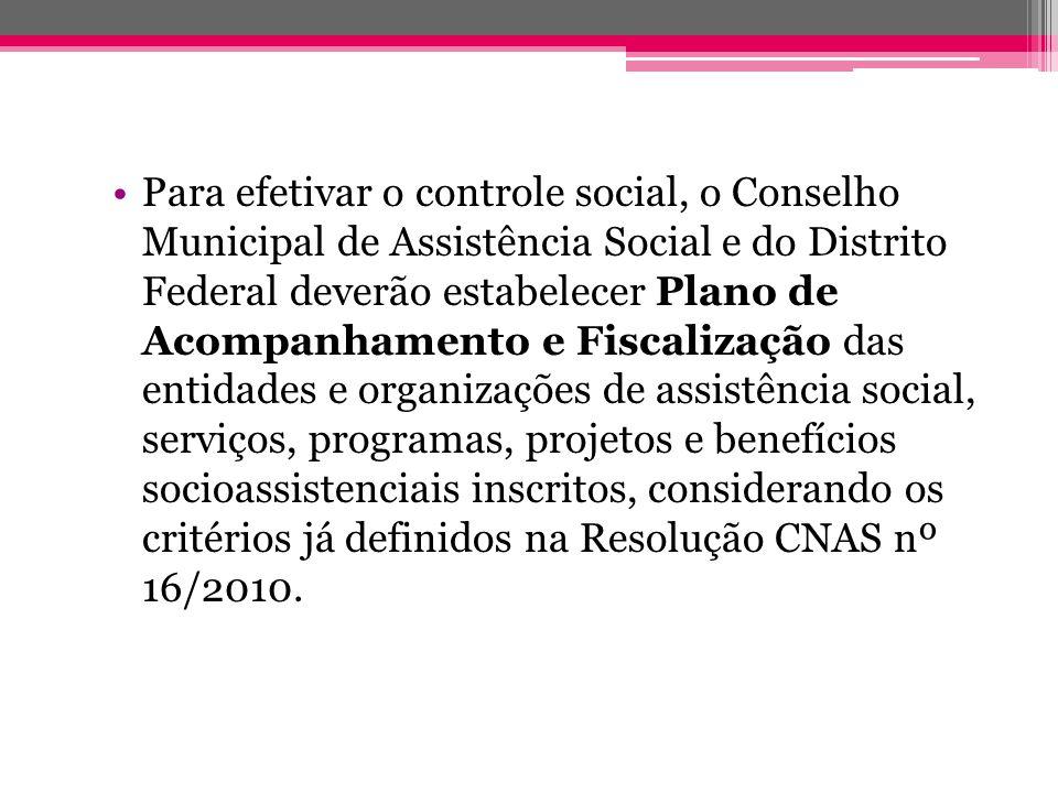Para efetivar o controle social, o Conselho Municipal de Assistência Social e do Distrito Federal deverão estabelecer Plano de Acompanhamento e Fiscal