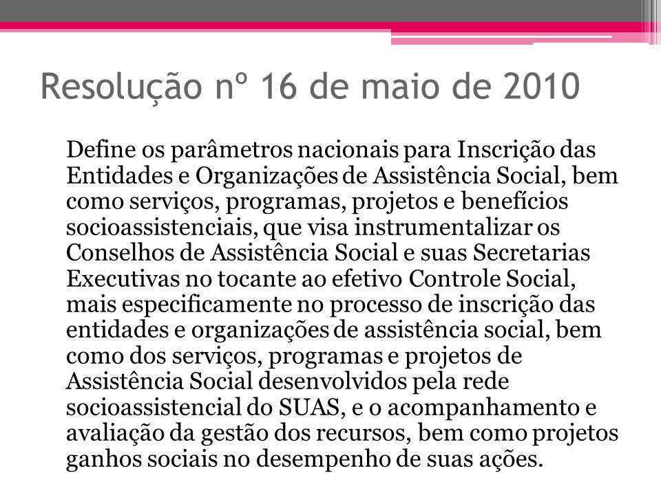 Resolução nº 16 de maio de 2010 Define os parâmetros nacionais para Inscrição das Entidades e Organizações de Assistência Social, bem como serviços, p