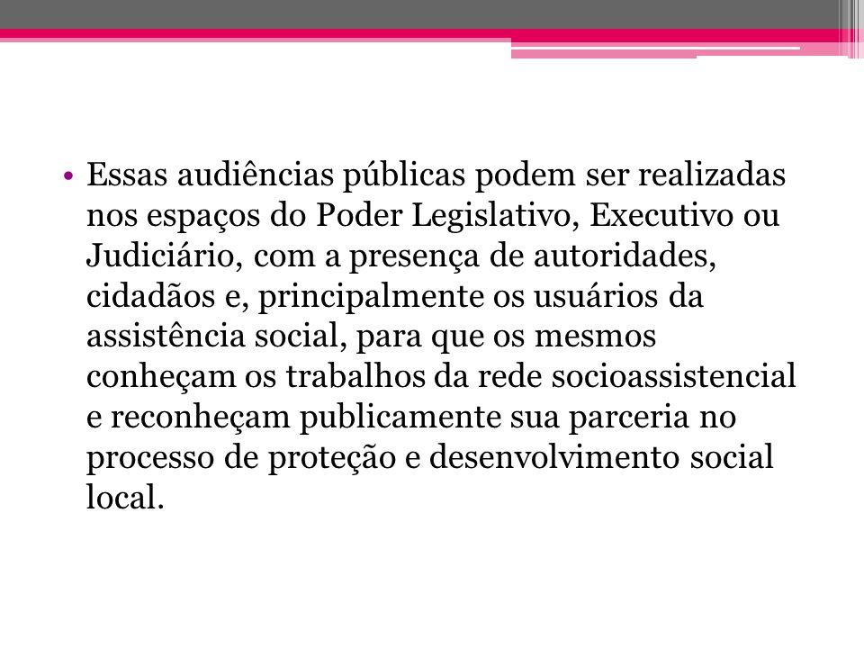 Essas audiências públicas podem ser realizadas nos espaços do Poder Legislativo, Executivo ou Judiciário, com a presença de autoridades, cidadãos e, p