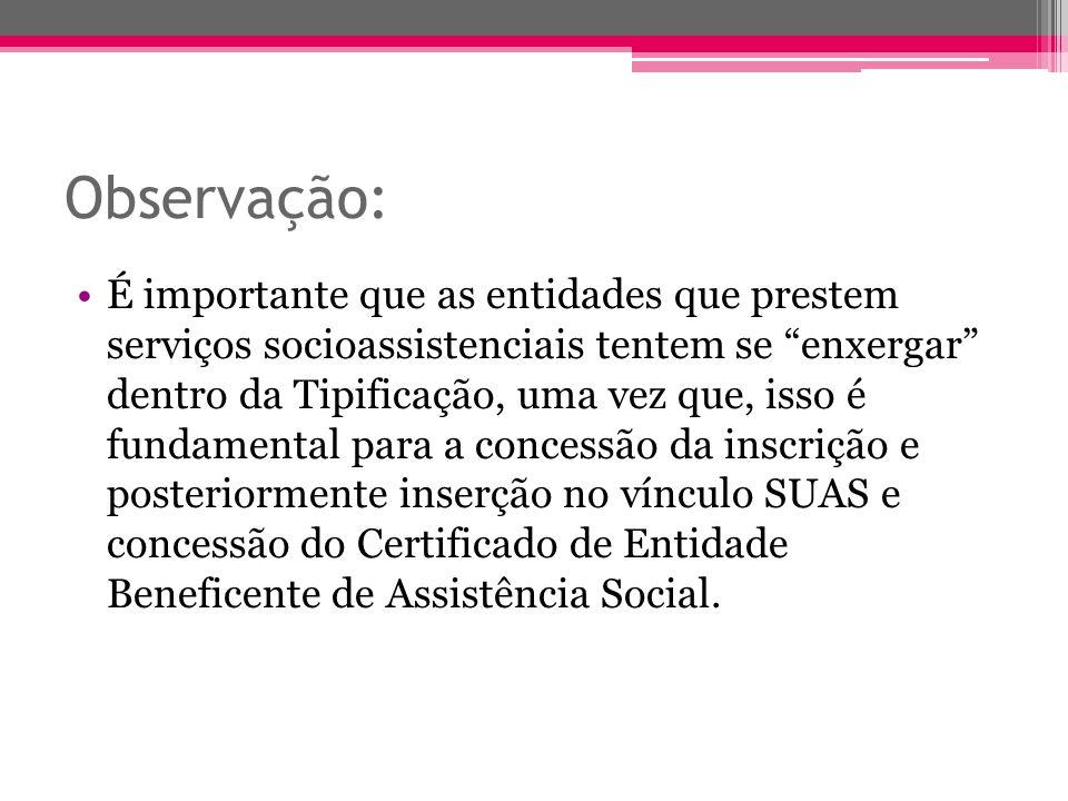 Observação: É importante que as entidades que prestem serviços socioassistenciais tentem se enxergar dentro da Tipificação, uma vez que, isso é fundam