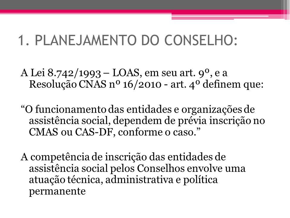 1. PLANEJAMENTO DO CONSELHO: A Lei 8.742/1993 – LOAS, em seu art. 9º, e a Resolução CNAS nº 16/2010 - art. 4º definem que: O funcionamento das entidad