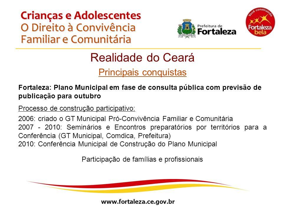 www.fortaleza.ce.gov.br Crianças e Adolescentes O Direito à Convivência Familiar e Comunitária Realidade do Ceará Principais conquistas Fortaleza: Pla