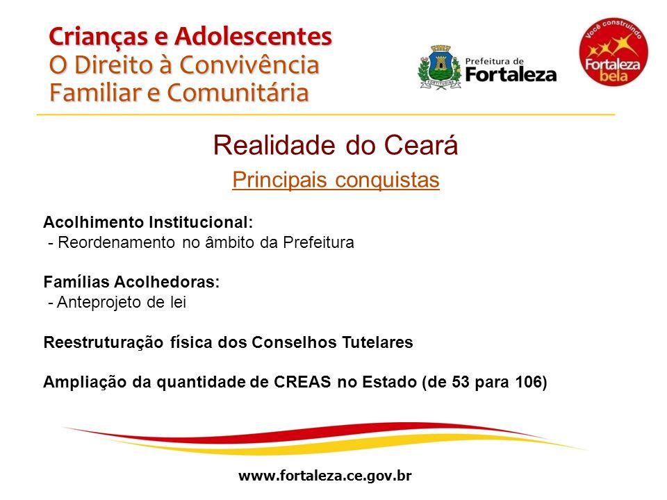 www.fortaleza.ce.gov.br Crianças e Adolescentes O Direito à Convivência Familiar e Comunitária Realidade do Ceará Principais conquistas Acolhimento In
