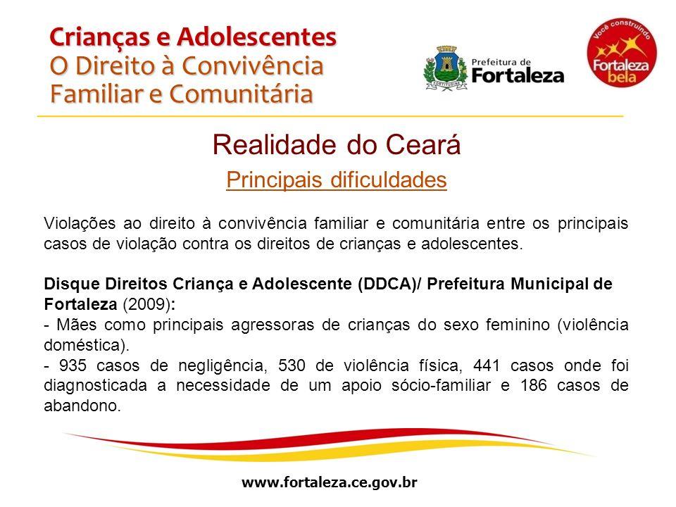 www.fortaleza.ce.gov.br Crianças e Adolescentes O Direito à Convivência Familiar e Comunitária Realidade do Ceará Principais dificuldades Violações ao
