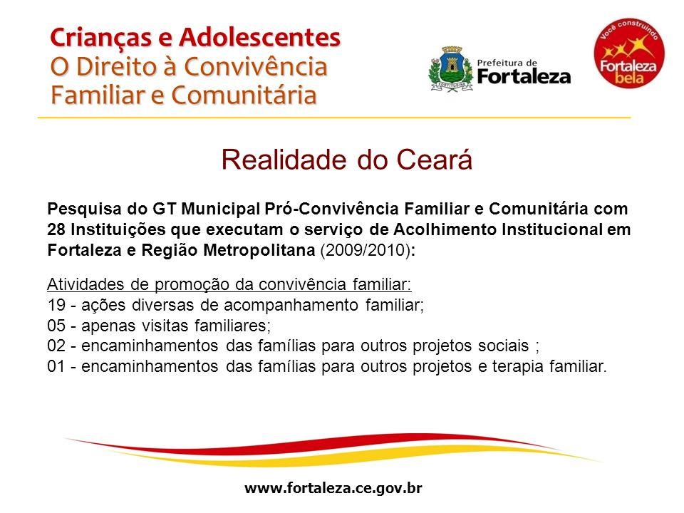 www.fortaleza.ce.gov.br Crianças e Adolescentes O Direito à Convivência Familiar e Comunitária Realidade do Ceará Pesquisa do GT Municipal Pró-Convivê