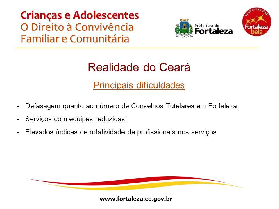 www.fortaleza.ce.gov.br Crianças e Adolescentes O Direito à Convivência Familiar e Comunitária Realidade do Ceará Principais dificuldades -Defasagem q