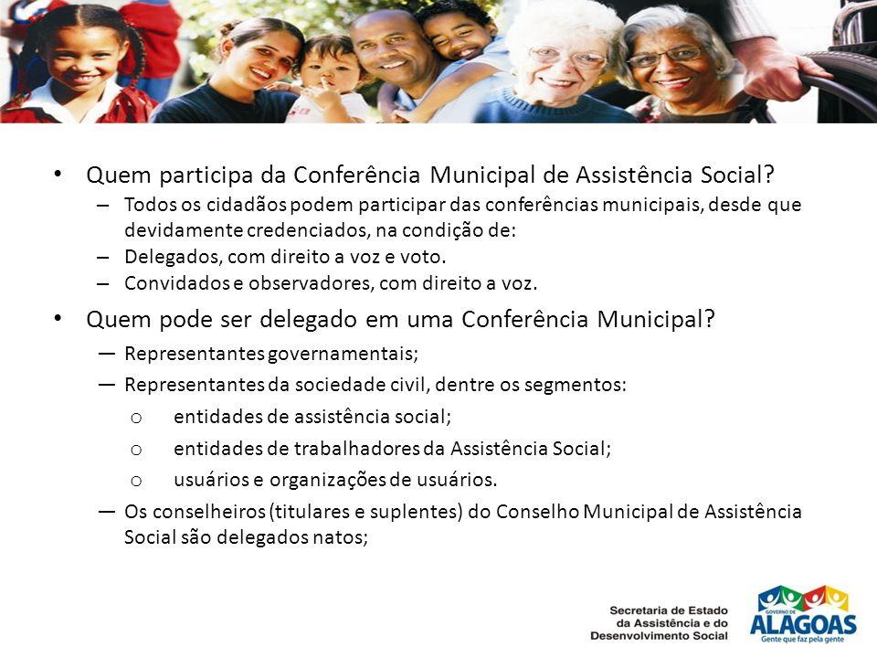 Quem participa da Conferência Municipal de Assistência Social.