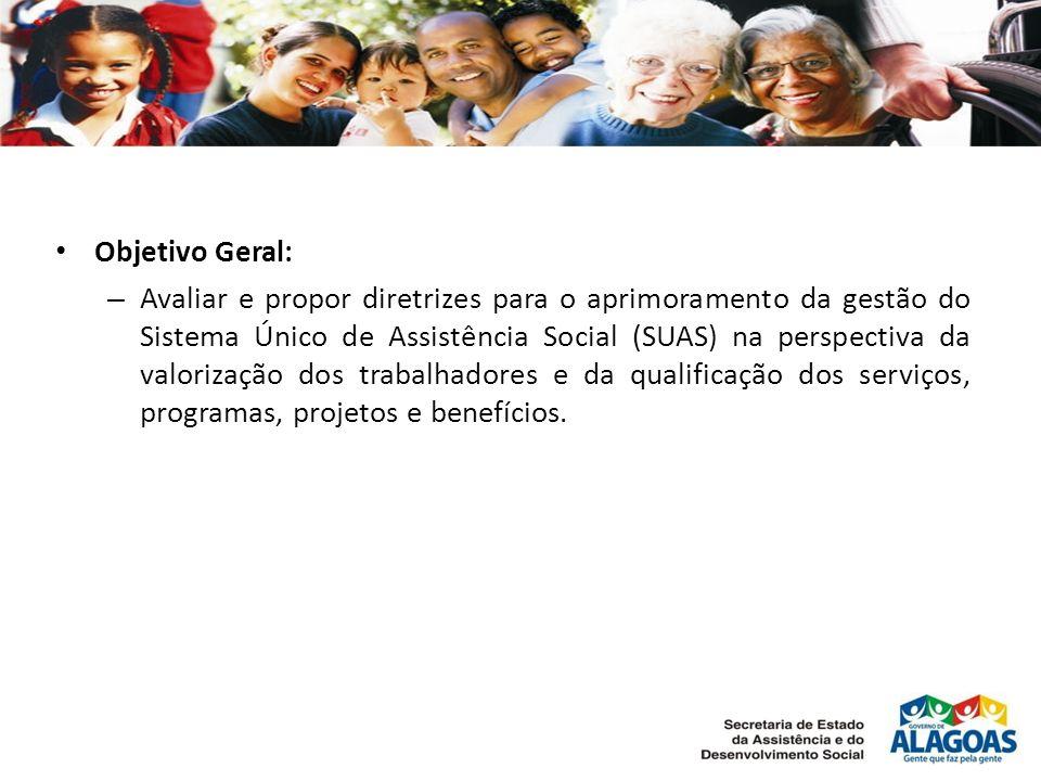 Objetivo Geral: – Avaliar e propor diretrizes para o aprimoramento da gestão do Sistema Único de Assistência Social (SUAS) na perspectiva da valorização dos trabalhadores e da qualificação dos serviços, programas, projetos e benefícios.