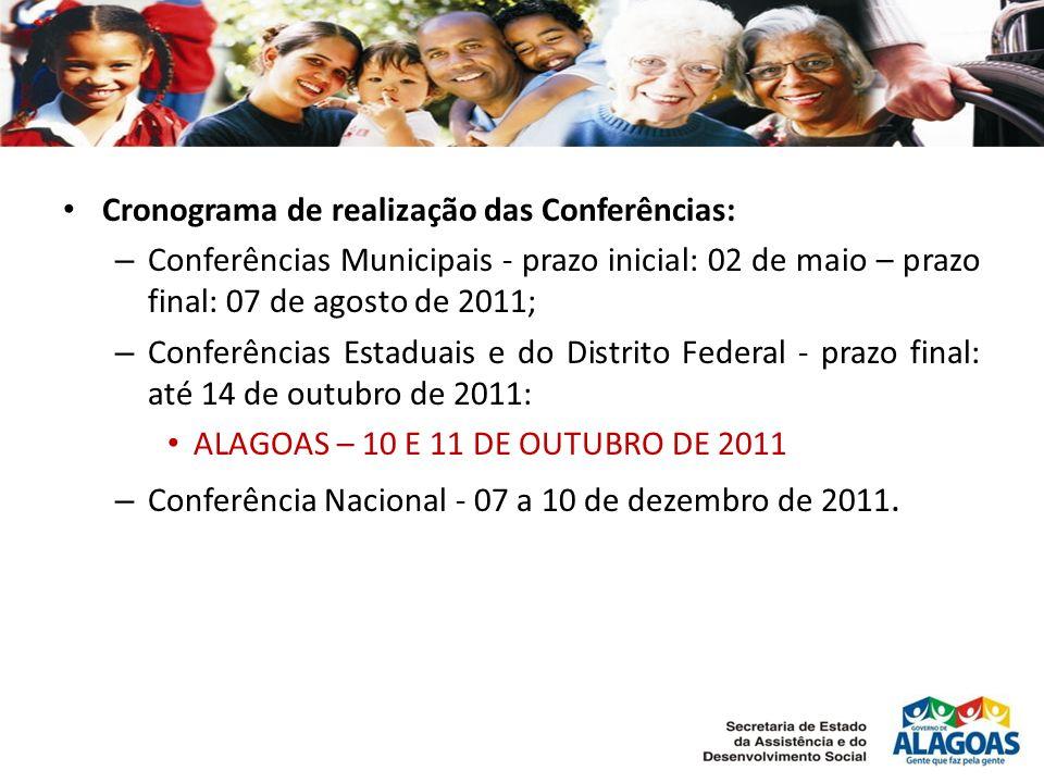 Cronograma de realização das Conferências: – Conferências Municipais - prazo inicial: 02 de maio – prazo final: 07 de agosto de 2011; – Conferências Estaduais e do Distrito Federal - prazo final: até 14 de outubro de 2011: ALAGOAS – 10 E 11 DE OUTUBRO DE 2011 – Conferência Nacional - 07 a 10 de dezembro de 2011.