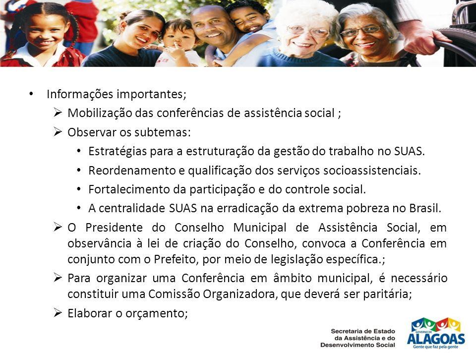 Informações importantes; Mobilização das conferências de assistência social ; Observar os subtemas: Estratégias para a estruturação da gestão do trabalho no SUAS.