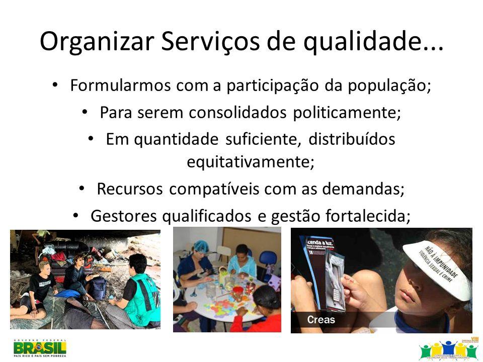 Organizar Serviços de qualidade... Formularmos com a participação da população; Para serem consolidados politicamente; Em quantidade suficiente, distr