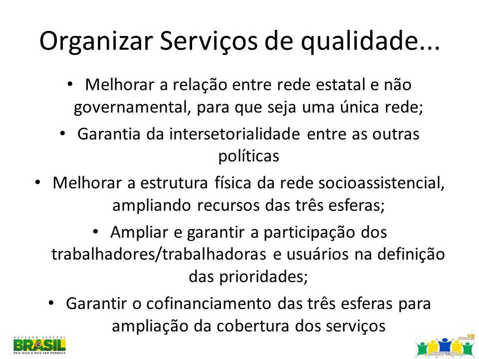 Organizar Serviços de qualidade... Melhorar a relação entre rede estatal e não governamental, para que seja uma única rede; Garantia da intersetoriali
