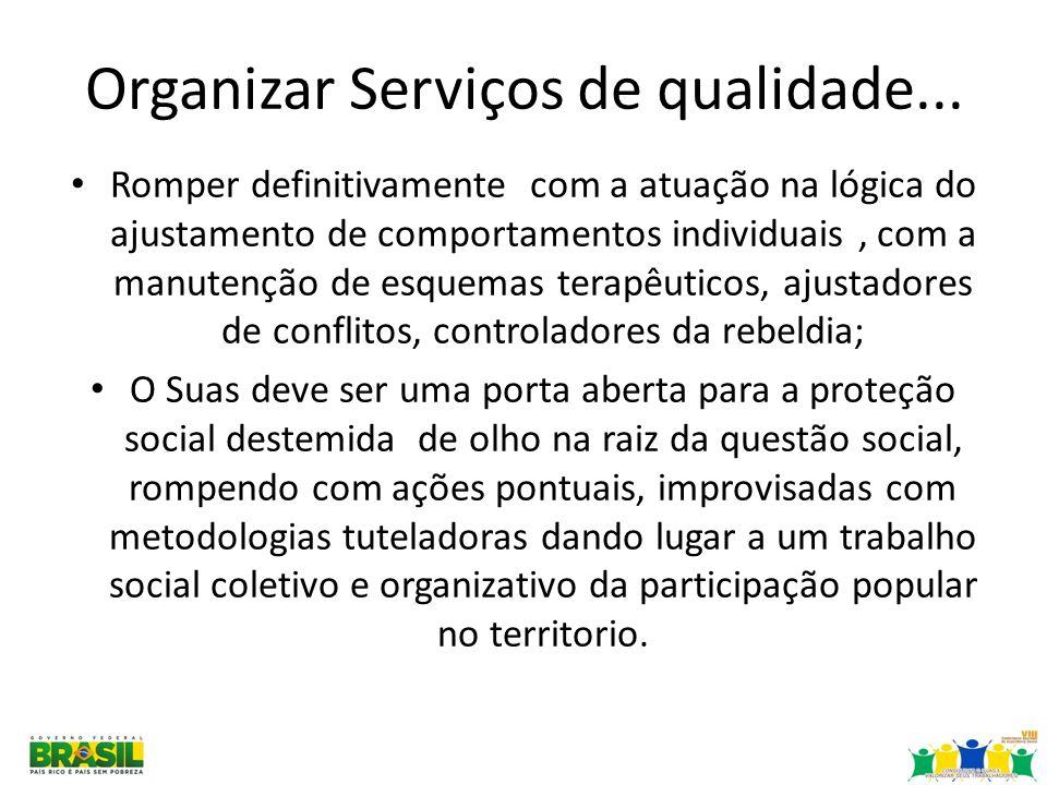 Organizar Serviços de qualidade... Romper definitivamente com a atuação na lógica do ajustamento de comportamentos individuais, com a manutenção de es