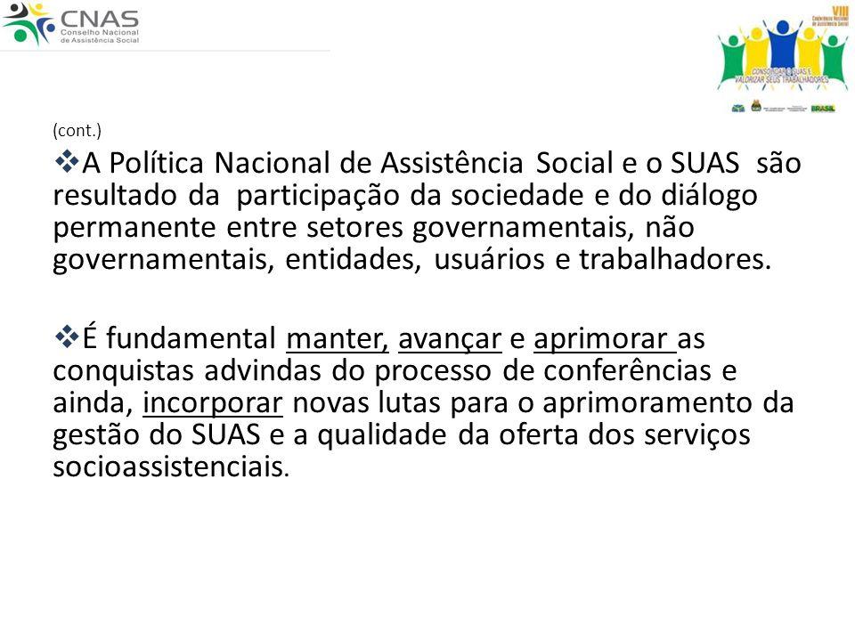 (cont.) A Política Nacional de Assistência Social e o SUAS são resultado da participação da sociedade e do diálogo permanente entre setores governamen