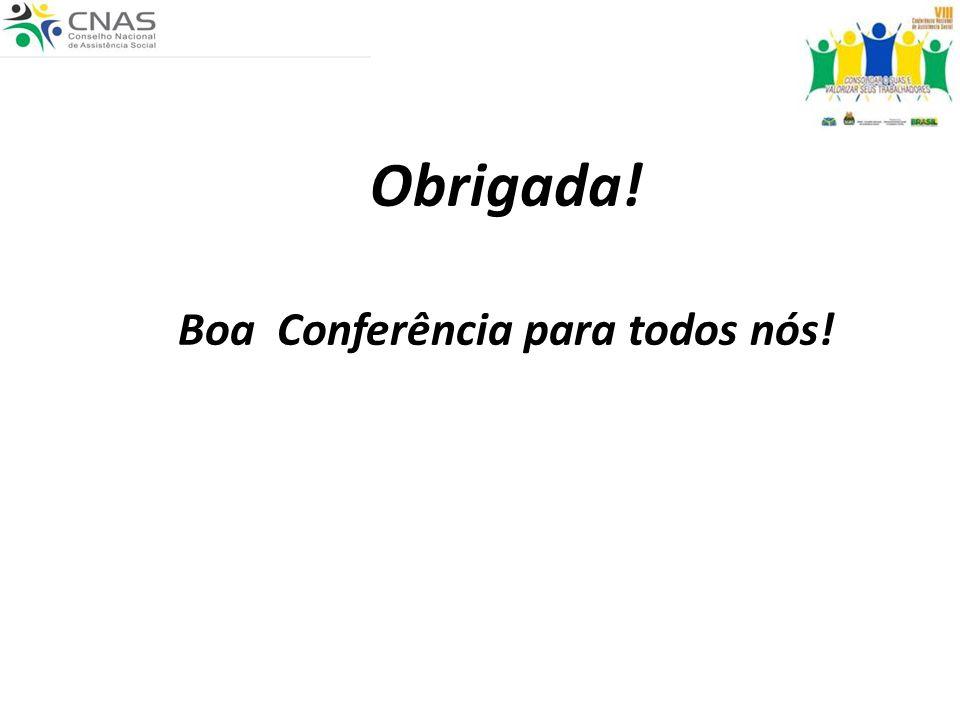 Obrigada! Boa Conferência para todos nós!