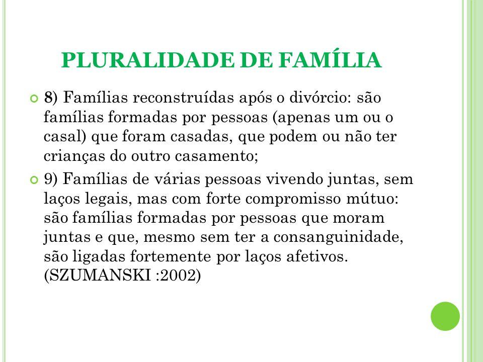 PLURALIDADE DE FAMÍLIA 8 ) Famílias reconstruídas após o divórcio: são famílias formadas por pessoas (apenas um ou o casal) que foram casadas, que pod
