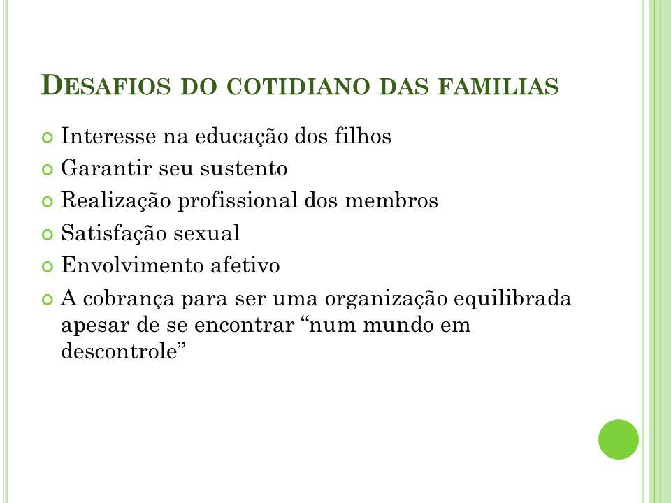 D ESAFIOS DO COTIDIANO DAS FAMILIAS Interesse na educação dos filhos Garantir seu sustento Realização profissional dos membros Satisfação sexual Envol