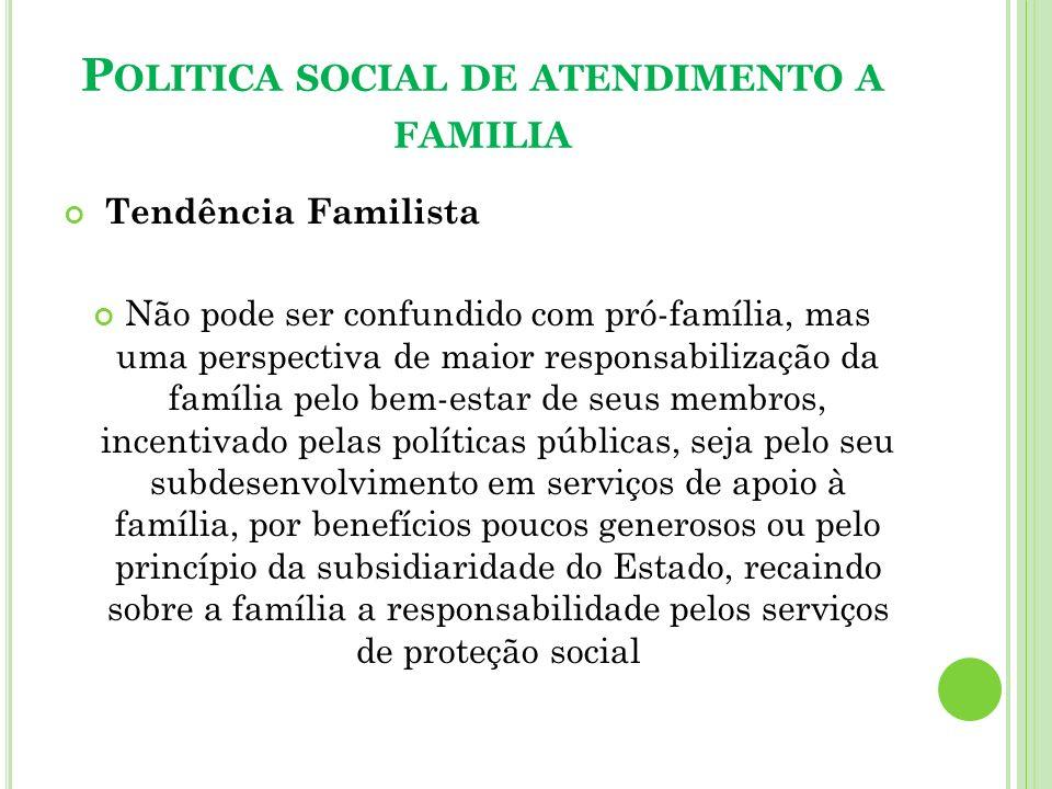 P OLITICA SOCIAL DE ATENDIMENTO A FAMILIA Tendência Familista Não pode ser confundido com pró-família, mas uma perspectiva de maior responsabilização