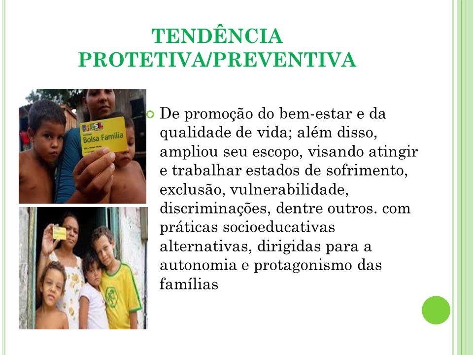 TENDÊNCIA PROTETIVA/PREVENTIVA De promoção do bem-estar e da qualidade de vida; além disso, ampliou seu escopo, visando atingir e trabalhar estados de